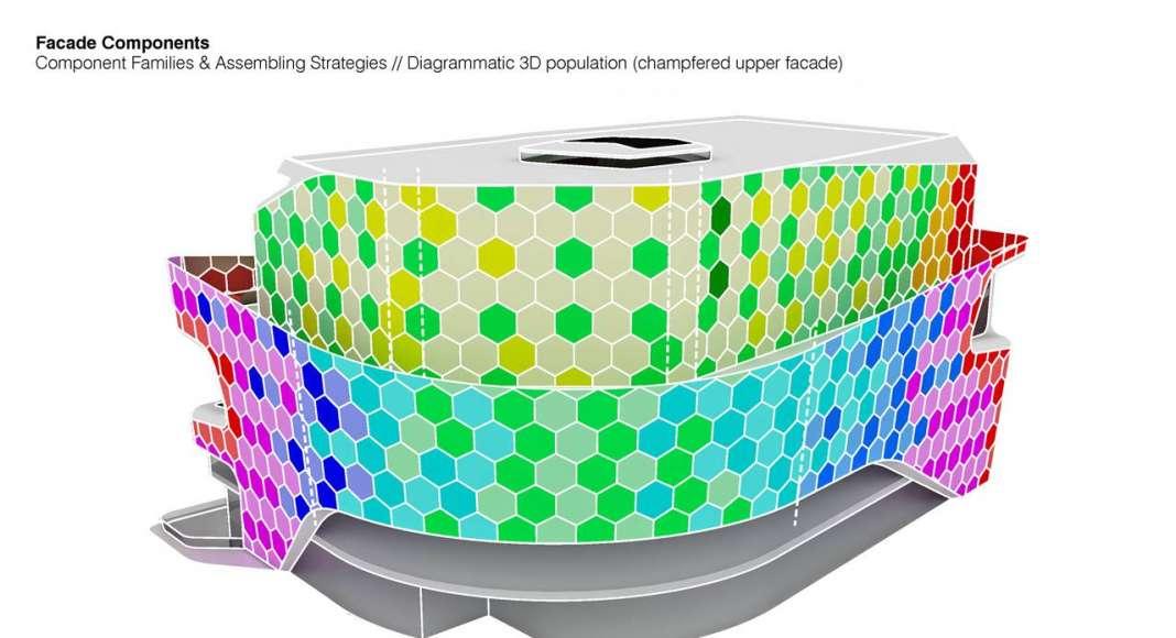 Lane 189 en Shanghai Diagram Facade Tesselation : Drawing © UNStudio