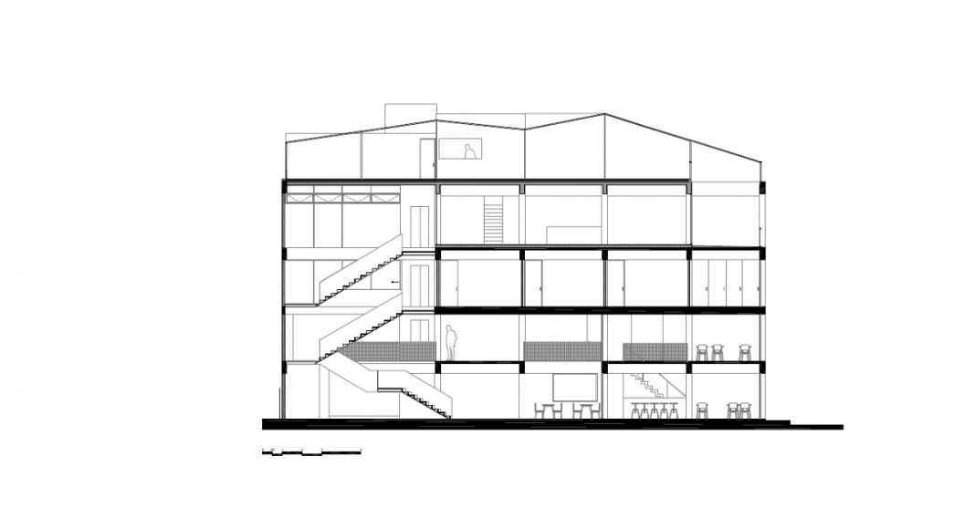 Corte Longitudinal del Proyecto Milán 44 ReUrbano diseñado por Francisco Pardo Arquitecto : Plano © Francisco Pardo Arquitecto