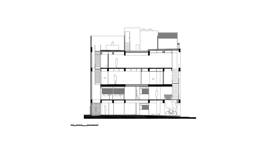 Corte Transversal 1 del Proyecto Milán 44 ReUrbano diseñado por Francisco Pardo Arquitecto : Plano © Francisco Pardo Arquitecto