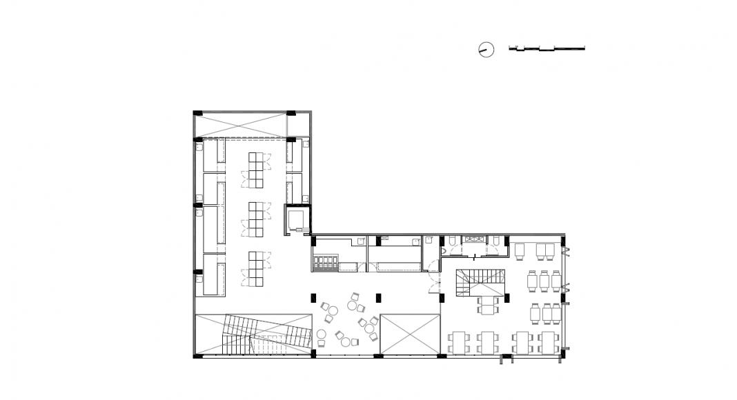 Planta Primer Nivel del Proyecto Milán 44 ReUrbano diseñado por Francisco Pardo Arquitecto : Plano © Francisco Pardo Arquitecto