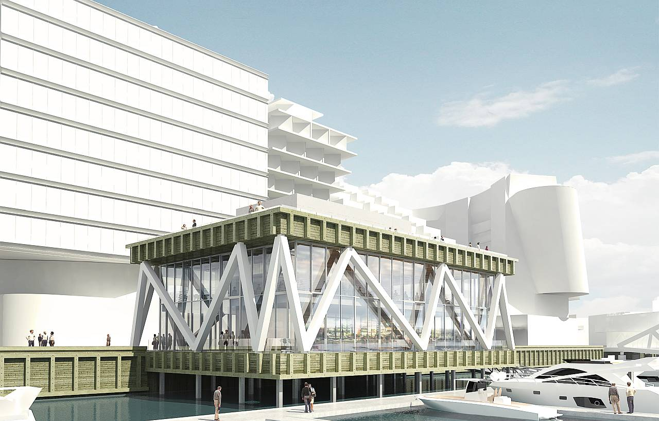 Waterside view of the Wharf Marina by Hollwich Kushner : Render © Hollwich Kushner