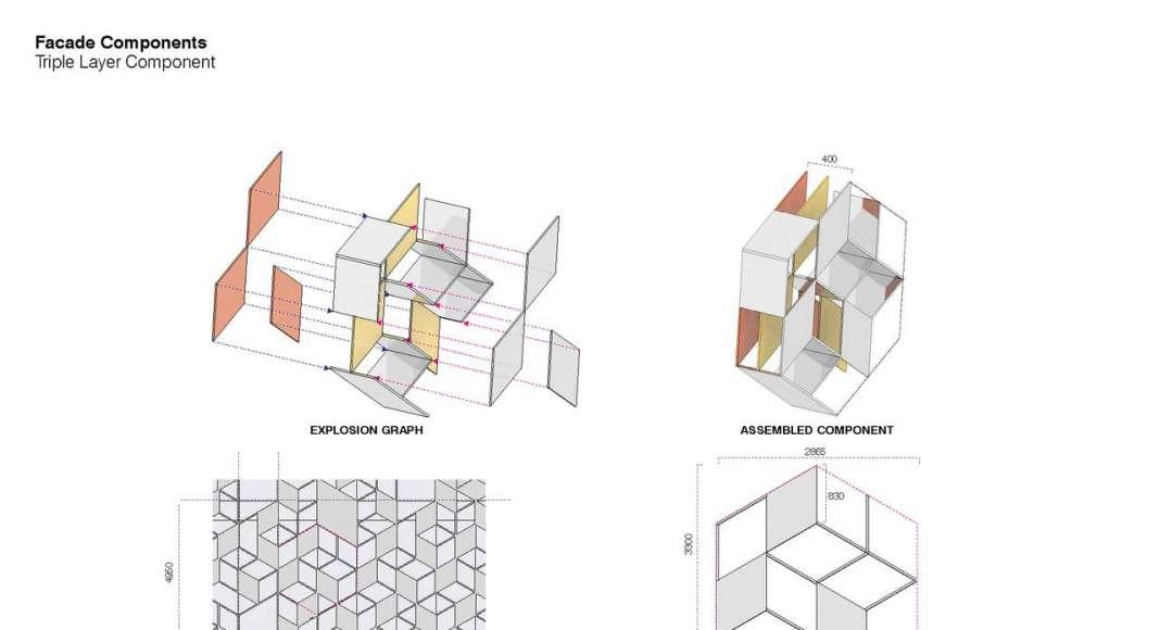Lane 189 en Shanghai Diagram Triple Layer Component : Drawing © UNStudio