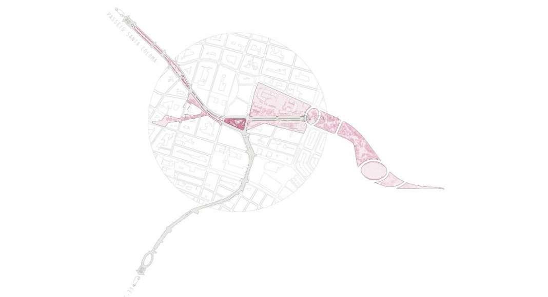 Plano de la situación de la reurbanización de una área verde en Badalona : Plano © peris+toral.arquitectes