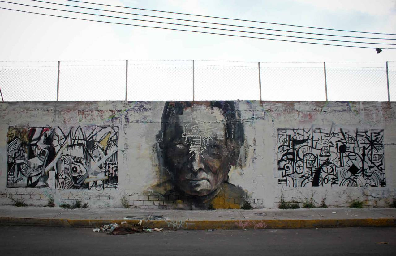 Rastros, 2015, 400 x 800 cm, mixta sobre muro : Fotografía © Colectivo Chachacha!