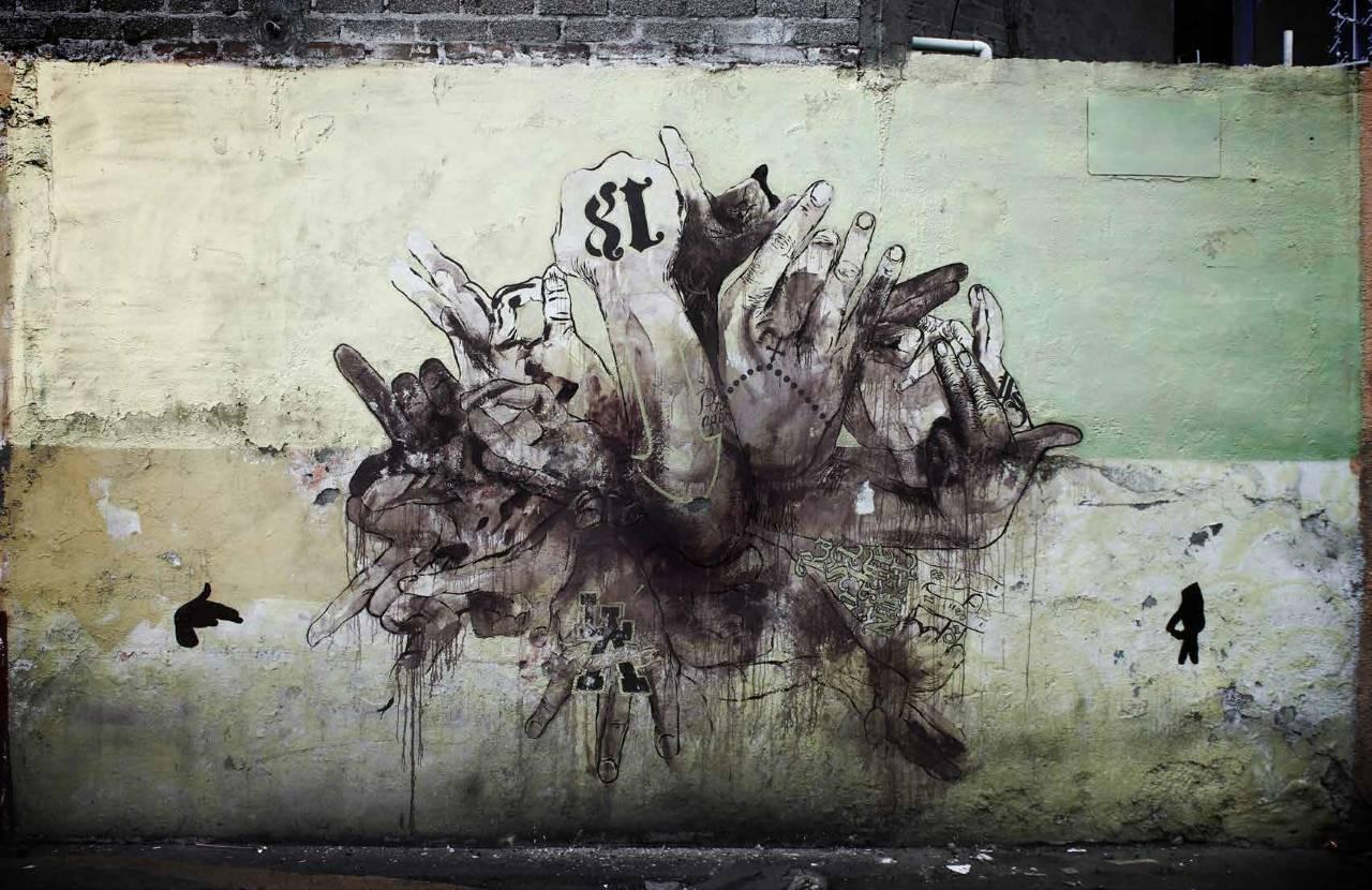 Signos, 2014, 300 x 500 cm, mixta sobre muro : Fotografía © Colectivo Chachacha!