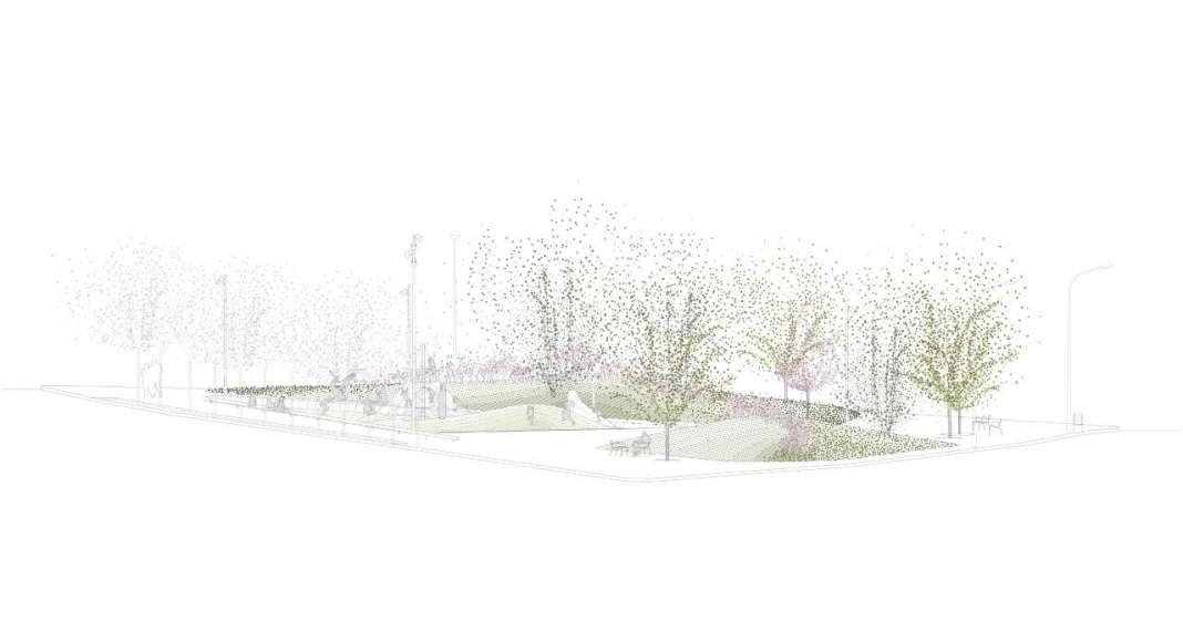 Corte de la reurbanización de una área verde en Badalona : Plano © peris+toral.arquitectes