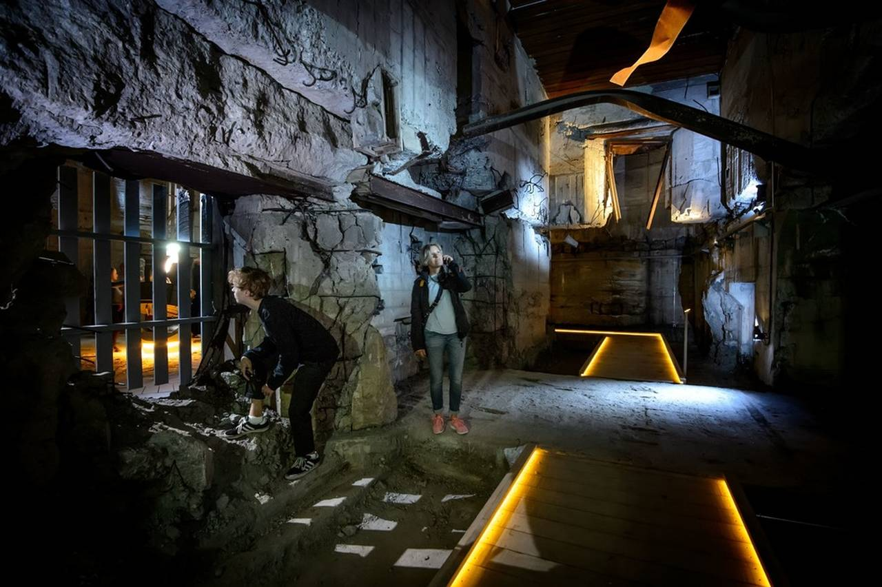 From the sunken galleries, visitors are able to walk into the historic bunker, which grounds the tale of an impressive war machine : Photo credit © Mike Bink Photography