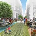 Public Square diseñado por FXFOWLE & Sam Schwartz Engineering Ganan el Concurso Driverless Future Challenge : Render © FXFOWLE & © Sam Schwartz Engineering