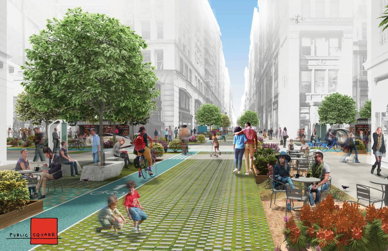 Public Square diseñada por FXFOWLE y Sam Schwartz Engineering Gana el Concurso Driverless Future Challenge