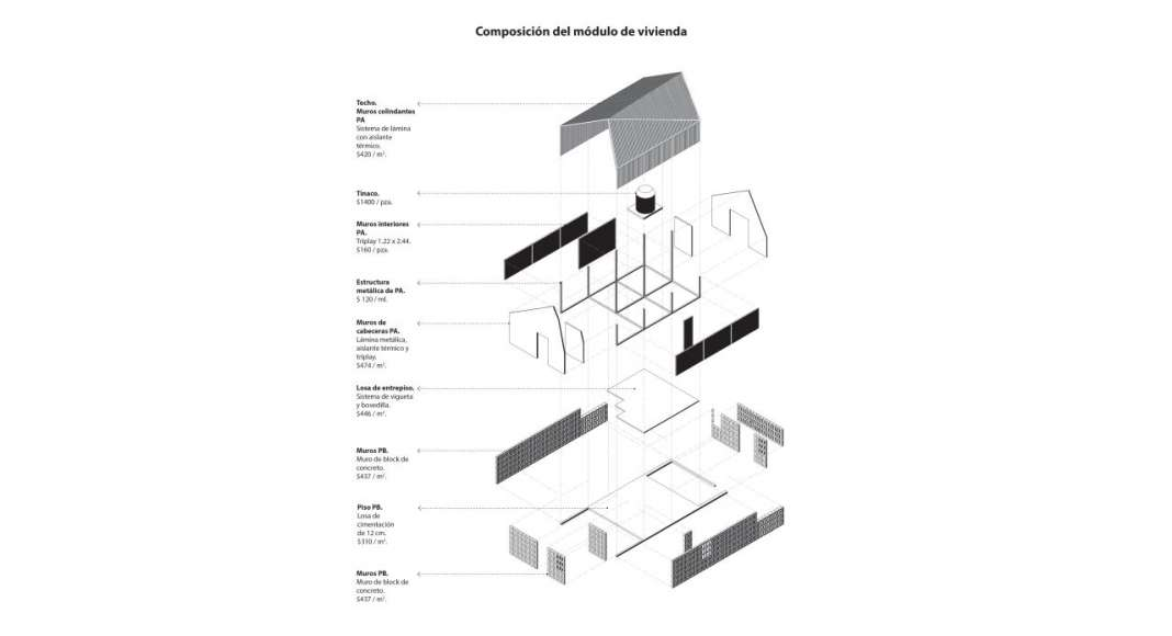 Composición Módulo de Vivienda para el proyecto Vivienda Tala : Imágen © ZD+A e © Iñaki Echeverría