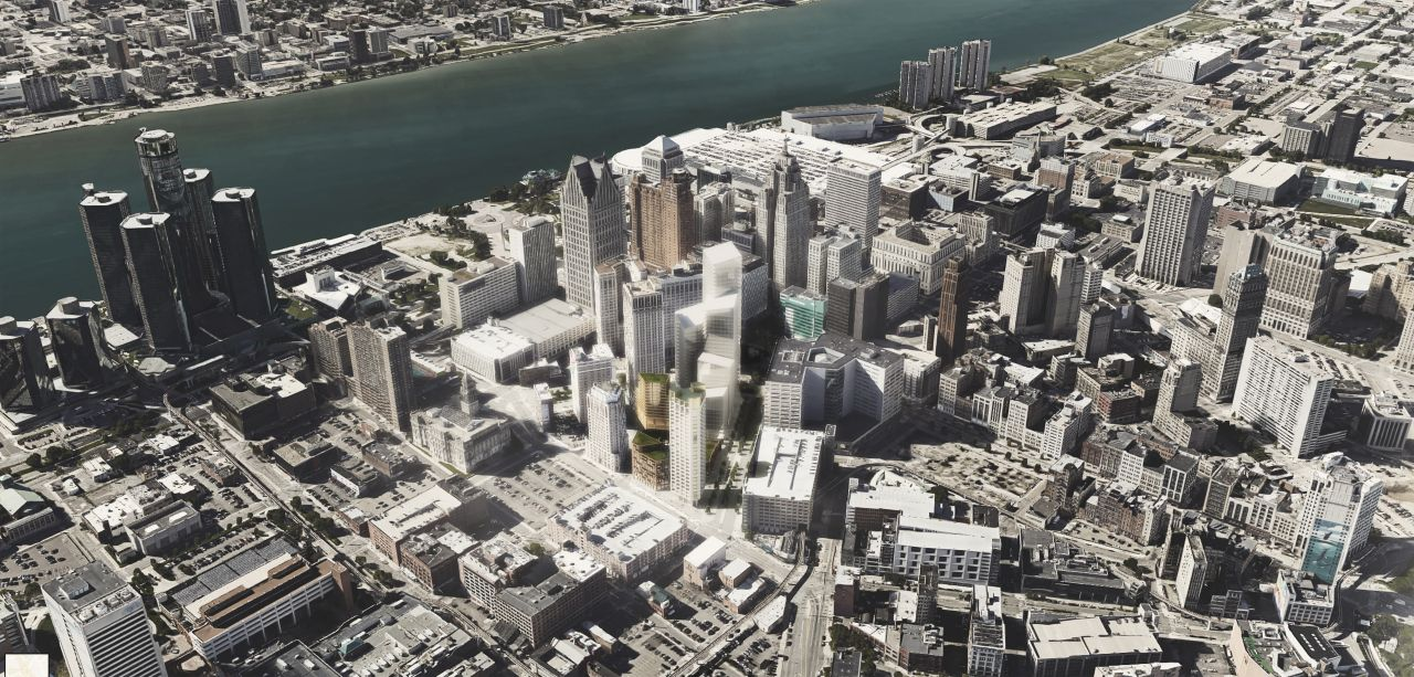 Monroe Blocks Aerial View in Detroit by Schmidt Hammer Lassen Architects : Render © Schmidt Hammer Lassen Architects