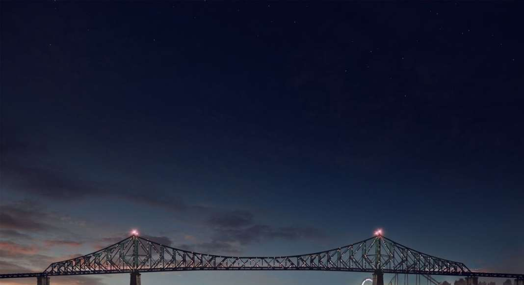Jacques Cartier Bridge Interactive Illumination (Render)_Good Morning WHEN: JUST BEFORE DAWN At dawn's first light, the bridge's exterior skin re-awakens to greet the sun. Taking its colour directly from the sky overhead, the bridge twinkles in the morning light, waving a subtle 'good morning' to Montreal's early risers. : Photo credit © Moment Factory