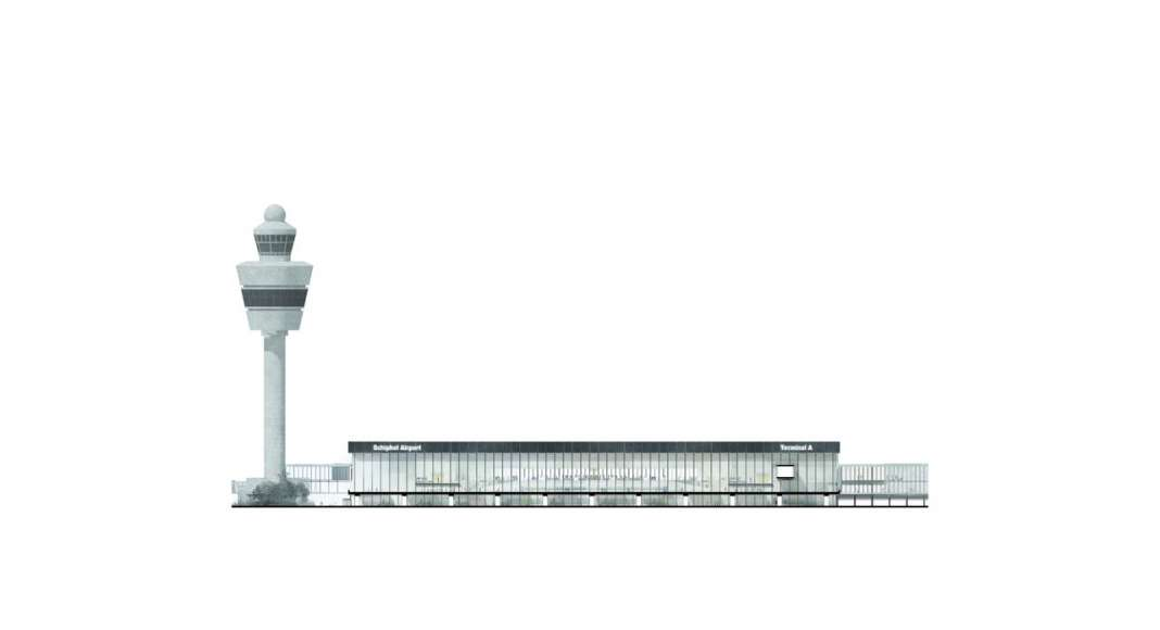 The drawing of the North West Elevation of the new Amsterdam Airport Schiphol Terminal depicting the entrance to the Departures area on the first floor (the level of the existing road overpass). : Drawing © KAAN Architecten