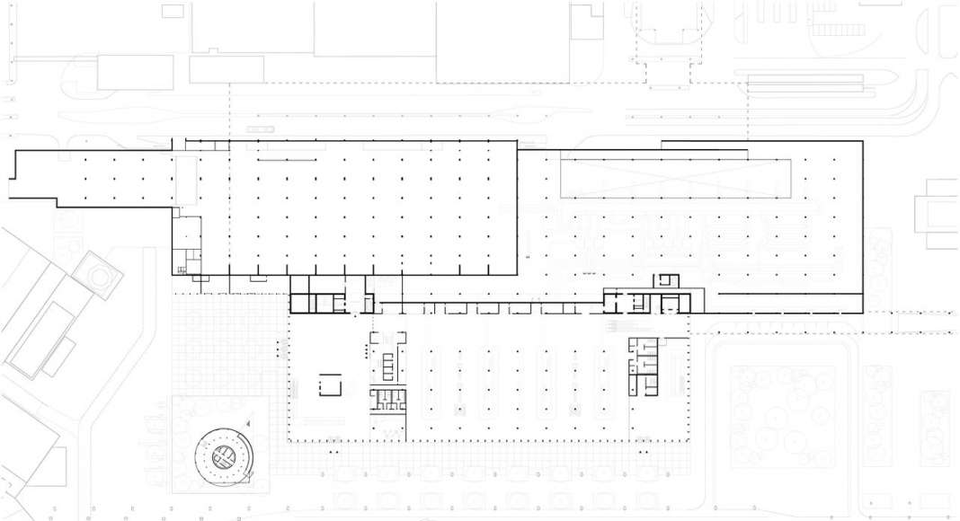 The drawing shows the plan of the ground level of the new Amsterdam Airport Schiphol Terminal containing the arrivals area and baggage hall as well as the position and relation to the existing temporary terminal. : Drawing © KAAN Architecten