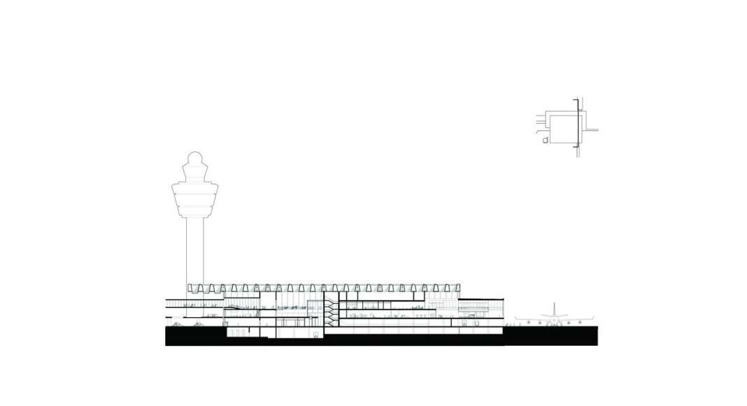 The drawing shows the cross section through the new Amsterdam Airport Schiphol Terminal positioned through the connecting bridge and one of the cores. It depicts various connection points of the new terminal with existing and future buildings. : Drawing © KAAN Architecten