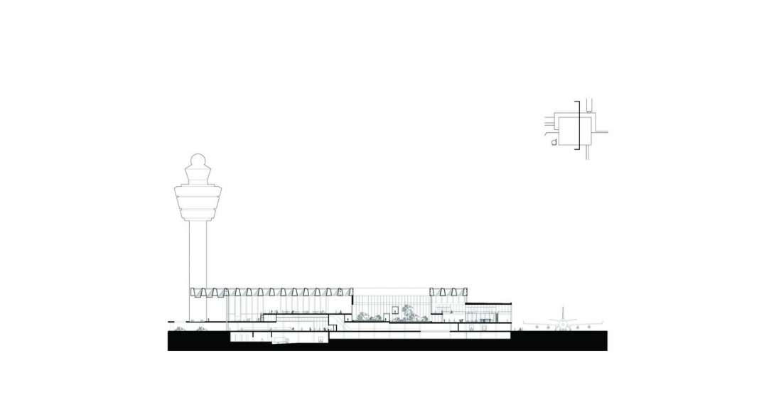 The drawing shows the cross section through the new Amsterdam Airport Schiphol Terminal positioned through one of the buildings patios. It shows the relationship of the plateau, the patio and the airside area. : Drawing © KAAN Architecten