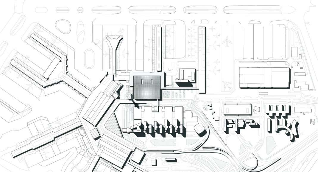 The drawing depicts the site plan of the Schiphol area showing the urban integration of the new Amsterdam Airport Schiphol Terminal with the existing buildings.: Drawing © KAAN Architecten