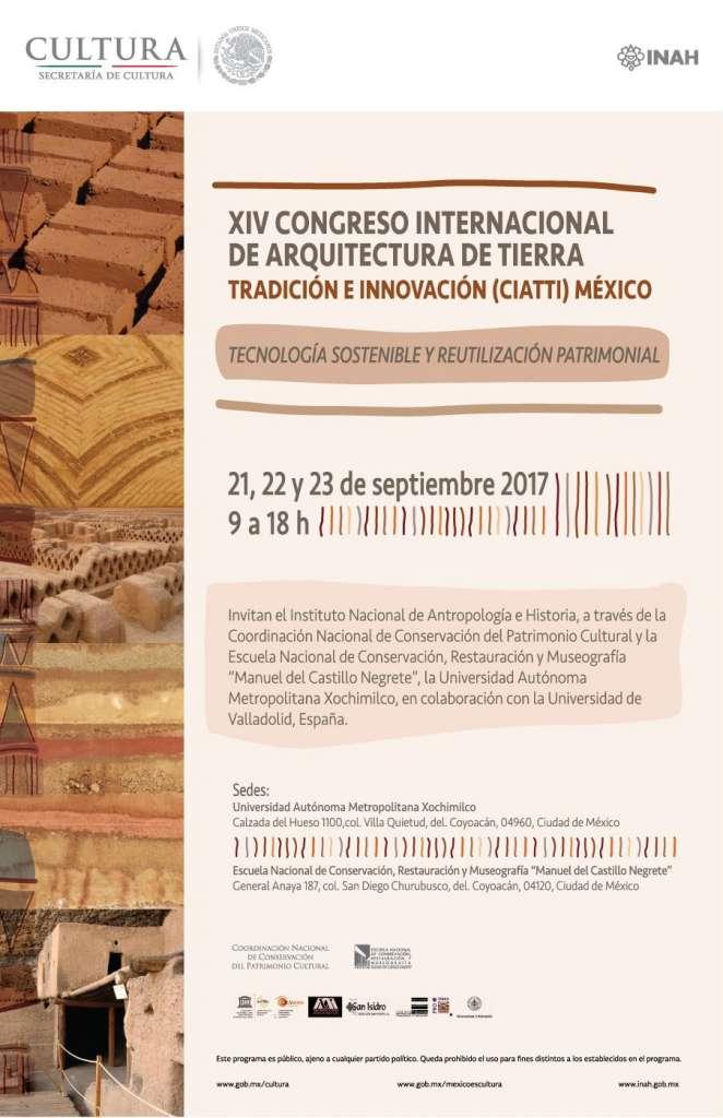 XIV Congreso Internacional de Arquitectura de Tierra. Tradición e Innovación (CIATTI) México : Cartel © ENCRyM