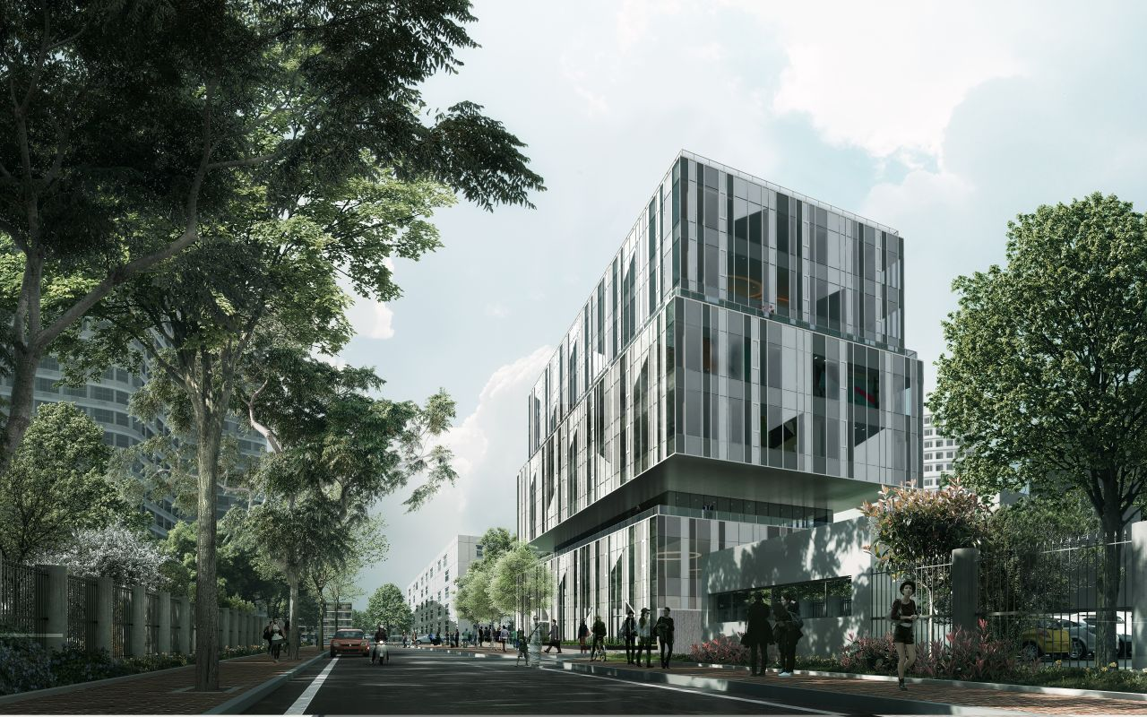 CaoHeJing Guigu Creative Headquarters Back View : Photo © Schmidt Hammer Lassen Architects