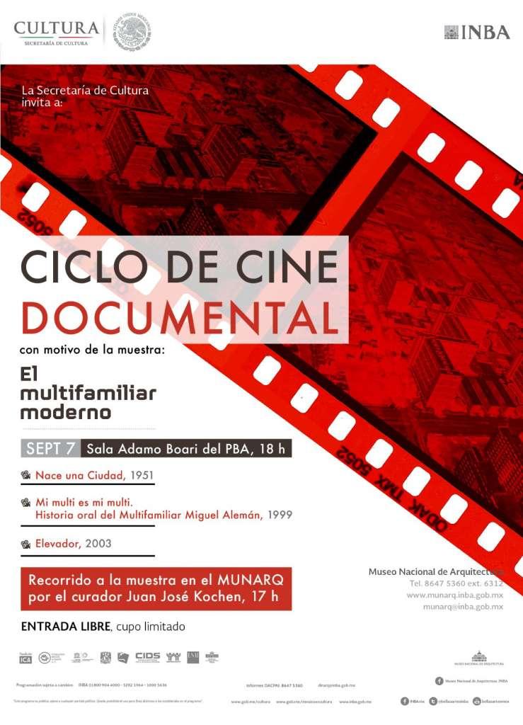 Ciclo de Cine Documental y Recorrido por la muestra El Multifamiliar Moderno : Poster © INBA/DACPAI