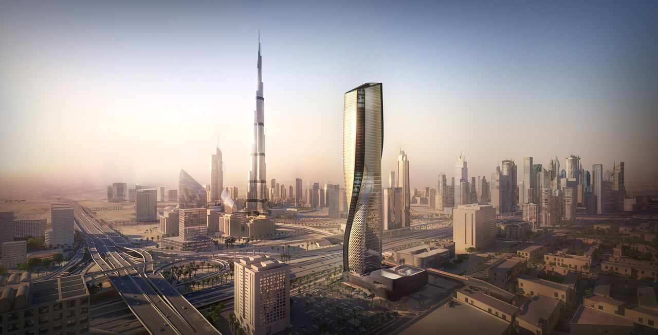 Wasl Tower Dubai designed by UNStudio and Werner Sobek : CGI visualisation © Methanoia