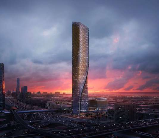 Wasl Tower Dubai designed by UNStudio and Werner Sobek : CGI visualisation © Plompmozes