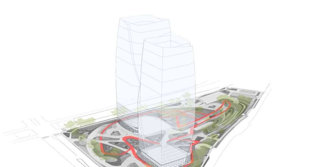 Diagram depicts in red the 1km (0.6 miles) pedestrian loop through the site : Photo credit courtesy of © Balmori Associates