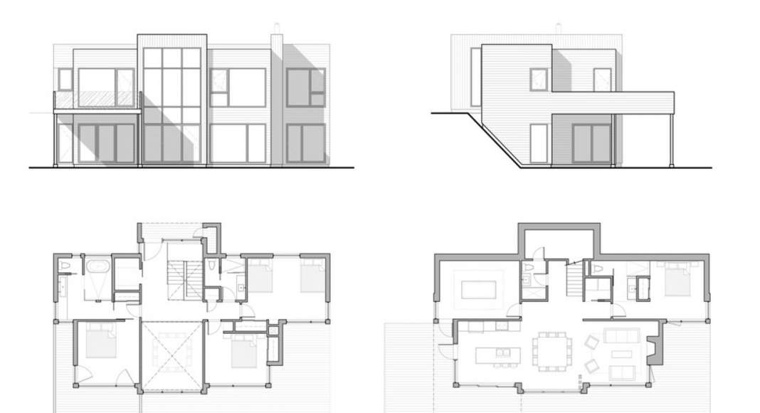 Chalet Bécassines Plan and Elevations en Mansonville : Photo credit © Atelier BOOM-TOWN