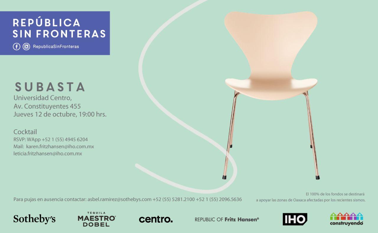 Invita República Sin Fronteras a la Subasta de las Sillas Serie 7™ Intervenidas por Artistas Mexicanos : Cartel © IHO Espacios