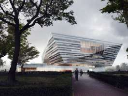 Shanghai East Library Exterior by Schmidt Hammer Lassen Architects : Render © Beauty and the Bit