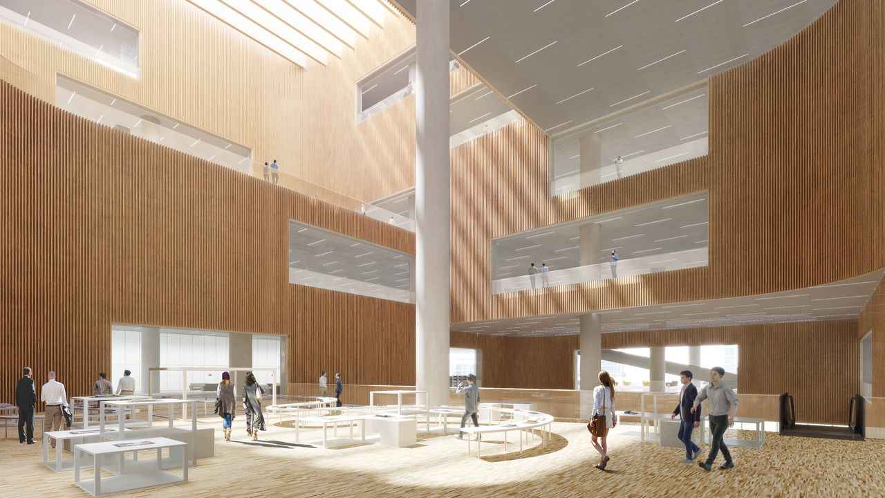 Shanghai East Library Exhibition Floor by Schmidt Hammer Lassen Architects : Render © Schmidt Hammer Lassen Architects