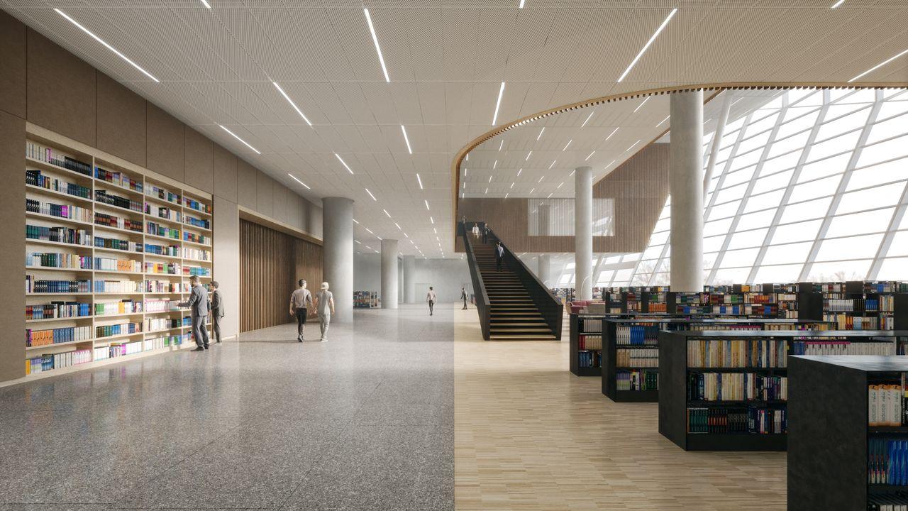 Shanghai East Library Reading Floor by Schmidt Hammer Lassen Architects : Render © Schmidt Hammer Lassen Architects
