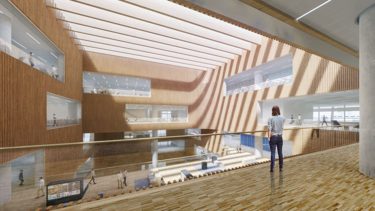 Shanghai East Library Reading Floor Plaza View by Schmidt Hammer Lassen Architects : Render © Schmidt Hammer Lassen Architects