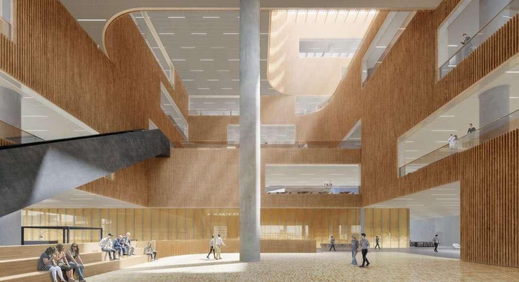 Shanghai East Library Lobby by Schmidt Hammer Lassen Architects : Render © Schmidt Hammer Lassen Architects
