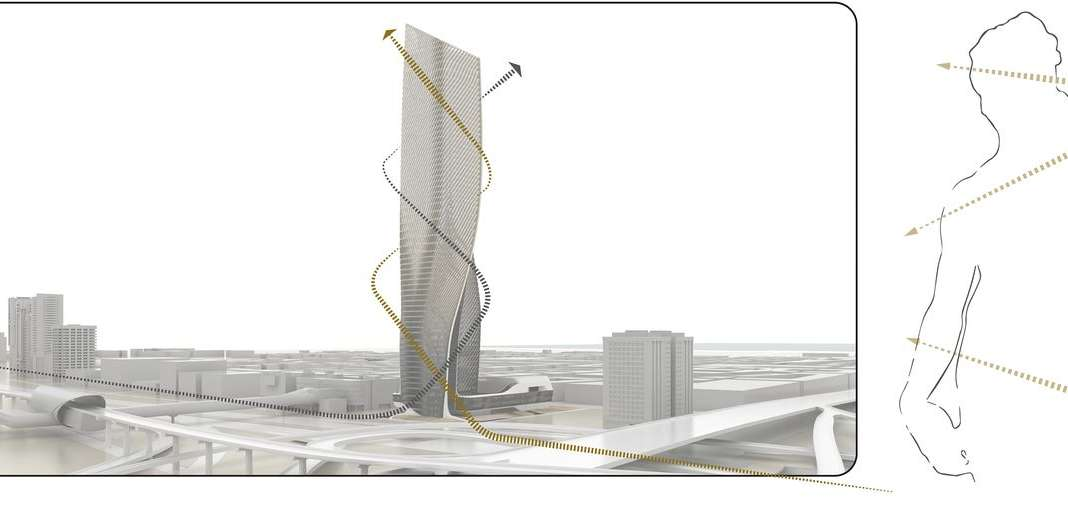 UNStudio Wasl Tower Dubai Contraposto : Drawing © UNstudio