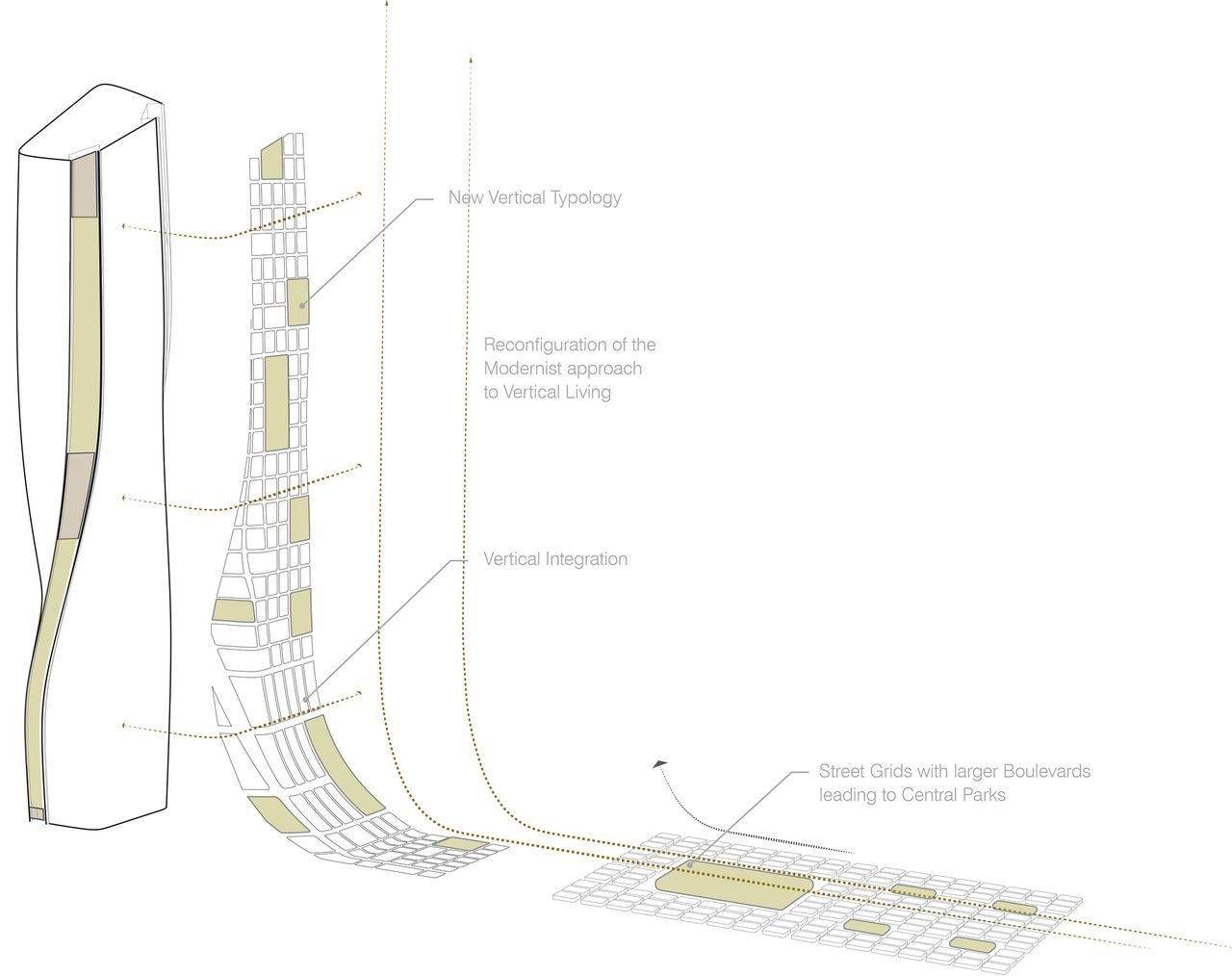 UNStudio Wasl Tower Dubai Vertical Urbanscape : Drawing © UNStudio