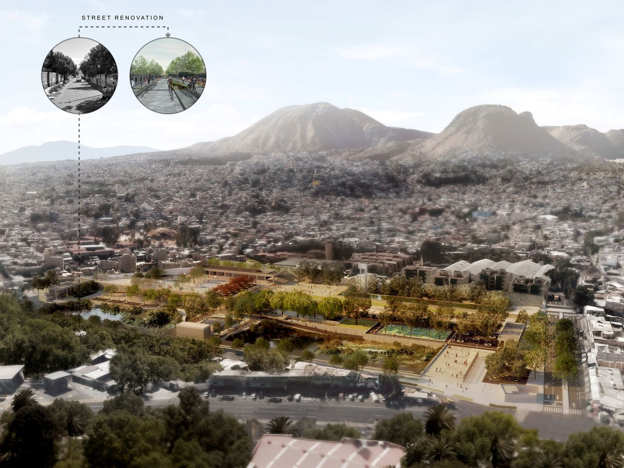 """El proyecto """"Parque Hídrico Quebradora"""" es un complejo para la retención y el tratamiento de agua en Santa Catarina, en la delegación Iztapalapa, una de las zonas con mayor carencia de este líquido en la Ciudad de México : Fotografía cortesía de © LafargeHolcim Foundation"""